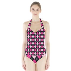 Argyle Pattern Pink Black Halter Swimsuit