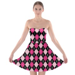 Argyle Pattern Pink Black Strapless Bra Top Dress