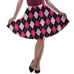 Argyle Pattern Pink Black A-line Skater Skirt