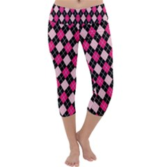 Argyle Pattern Pink Black Capri Yoga Leggings