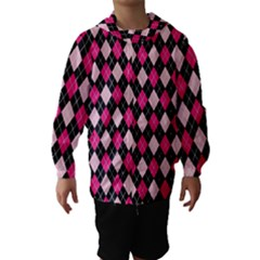 Argyle Pattern Pink Black Hooded Wind Breaker (Kids)
