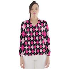 Argyle Pattern Pink Black Wind Breaker (Women)