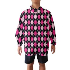 Argyle Pattern Pink Black Wind Breaker (Kids)