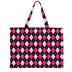 Argyle Pattern Pink Black Large Tote Bag