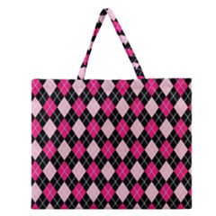 Argyle Pattern Pink Black Zipper Large Tote Bag