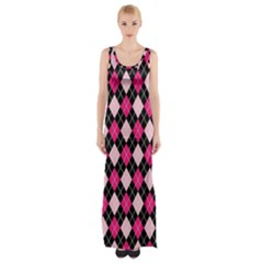 Argyle Pattern Pink Black Maxi Thigh Split Dress
