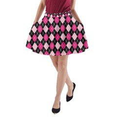 Argyle Pattern Pink Black A-Line Pocket Skirt