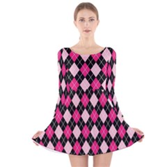 Argyle Pattern Pink Black Long Sleeve Velvet Skater Dress