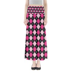 Argyle Pattern Pink Black Maxi Skirts