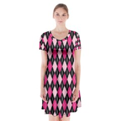 Argyle Pattern Pink Black Short Sleeve V-neck Flare Dress