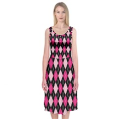 Argyle Pattern Pink Black Midi Sleeveless Dress