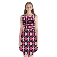 Argyle Pattern Pink Black Sleeveless Chiffon Dress