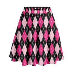 Argyle Pattern Pink Black High Waist Skirt