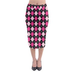 Argyle Pattern Pink Black Midi Pencil Skirt