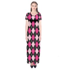 Argyle Pattern Pink Black Short Sleeve Maxi Dress