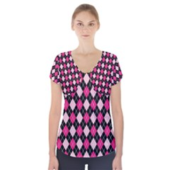 Argyle Pattern Pink Black Short Sleeve Front Detail Top