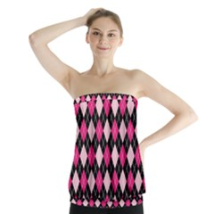 Argyle Pattern Pink Black Strapless Top