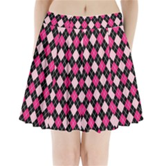 Argyle Pattern Pink Black Pleated Mini Skirt