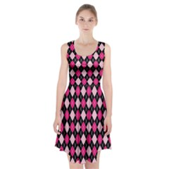 Argyle Pattern Pink Black Racerback Midi Dress