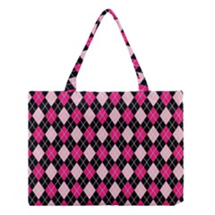 Argyle Pattern Pink Black Medium Tote Bag