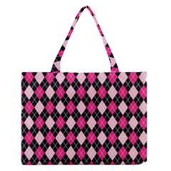 Argyle Pattern Pink Black Medium Zipper Tote Bag