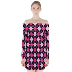 Argyle Pattern Pink Black Long Sleeve Off Shoulder Dress