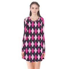 Argyle Pattern Pink Black Flare Dress