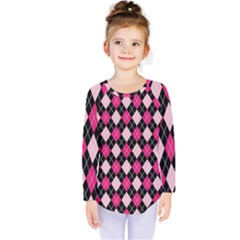 Argyle Pattern Pink Black Kids  Long Sleeve Tee