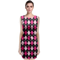 Argyle Pattern Pink Black Sleeveless Velvet Midi Dress