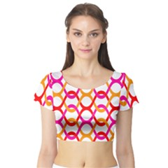 Background Abstract Short Sleeve Crop Top (Tight Fit)