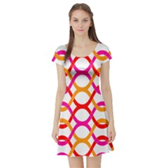 Background Abstract Short Sleeve Skater Dress