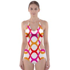 Background Abstract Cut-Out One Piece Swimsuit