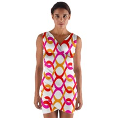 Background Abstract Wrap Front Bodycon Dress