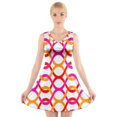 Background Abstract V-Neck Sleeveless Skater Dress