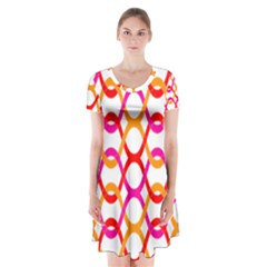 Background Abstract Short Sleeve V-neck Flare Dress