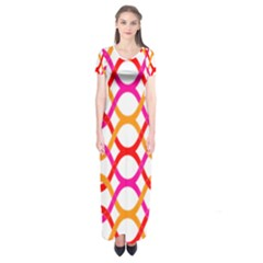 Background Abstract Short Sleeve Maxi Dress