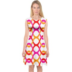 Background Abstract Capsleeve Midi Dress