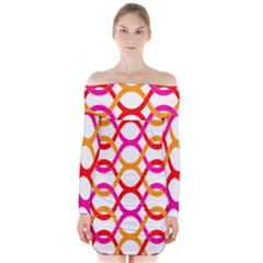 Background Abstract Long Sleeve Off Shoulder Dress