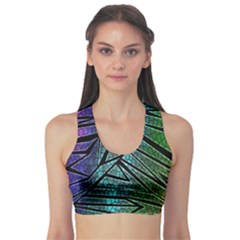 Abstract Background Rainbow Metal Sports Bra