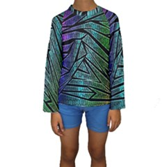 Abstract Background Rainbow Metal Kids  Long Sleeve Swimwear