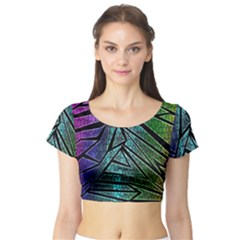 Abstract Background Rainbow Metal Short Sleeve Crop Top (Tight Fit)