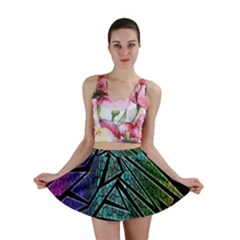 Abstract Background Rainbow Metal Mini Skirt