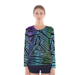 Abstract Background Rainbow Metal Women s Long Sleeve Tee