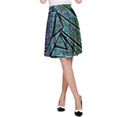 Abstract Background Rainbow Metal A-Line Skirt