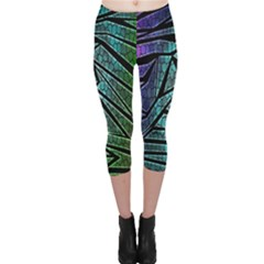 Abstract Background Rainbow Metal Capri Leggings