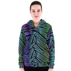 Abstract Background Rainbow Metal Women s Zipper Hoodie