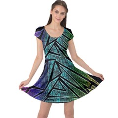 Abstract Background Rainbow Metal Cap Sleeve Dresses