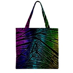 Abstract Background Rainbow Metal Zipper Grocery Tote Bag