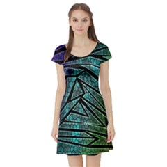 Abstract Background Rainbow Metal Short Sleeve Skater Dress