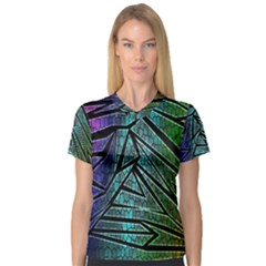 Abstract Background Rainbow Metal Women s V-Neck Sport Mesh Tee